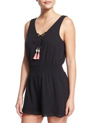 Seafolly Lace Up Cotton Gauze Romper With Tassel Ties Black