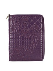 Versace Quilted Embroidery Leather Zip Around Wallet Purple