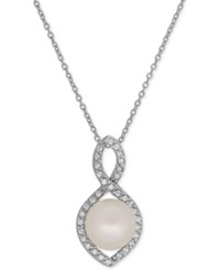 Honora Style Cultured Freshwater Pearl 9Mm And Swarovski Zirconia Infinity Pendant Necklace White