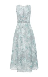 Oscar De La Renta Sleeveless Floral Gown Light Grey