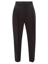 Nili Lotan Lia Front Pleated Silk Satin Trousers Black