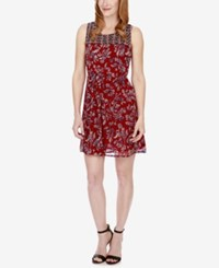 Lucky Brand Mixed Print A Line Dress Red Multi