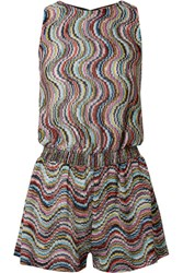 Missoni Mare Metallic Crochet Knit Playsuit Gray Usd