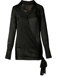 Giuliana Romanno Sheer Wrap Shirt Black