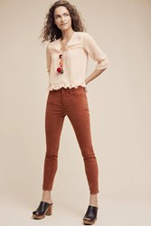 Anthropologie Pilcro Script High Rise Velvet Skinny Jeans Dark Orange