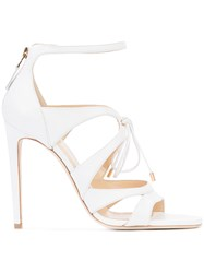 Chloe Gosselin Lace Up Stiletto Sandals Women Calf Leather 40 White