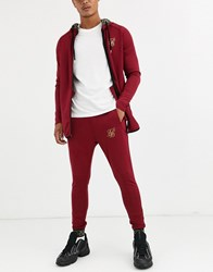 Sik Silk Siksilk Super Skinny Joggers In Burgundy With Baroque Cuff Red