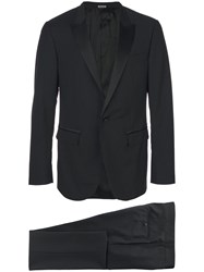 Lanvin Two Piece Suit Men Silk Polyester Viscose Wool 50 Black