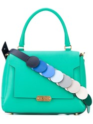 Anya Hindmarch Contrast Strap Tote Women Leather One Size Green