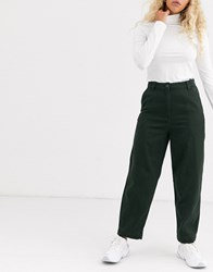 Weekday Tami Tapered Trouser In Dark Green