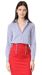 Dsquared Button Down Collared Shirt White Blue
