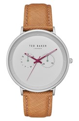 Ted Baker London Brad Multifunction Leather Strap Watch 42Mm White Light Brown