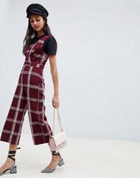 Miss Selfridge Jumpsuit With Button Detail In Burgundy Check Red