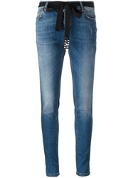 Twin Set Mid Rise Skinny Jeans Blue