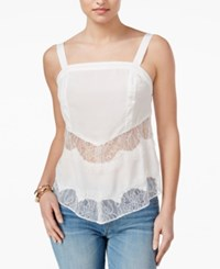 Guess Sleeveless Lace Inset Top Macadamia