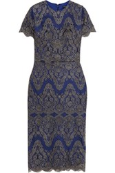 Catherine Deane Gwyn Embroidered Tulle Dress Royal Blue