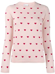 Red Valentino Heart Print Sweater Pink