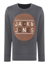 Jack And Jones Graphic Crew Neck Pull Over Jumper Grey