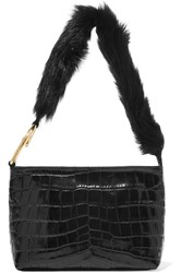Elizabeth And James Finley Faux Fur Trimmed Croc Effect Leather Shoulder Bag Black