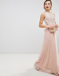 Frock And Frill Tulle Maxi Dress With Embellished Upper Pink