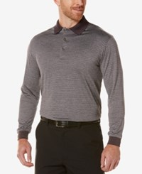Pga Tour Men's Heathered Long Sleeve Polo Medium Grey