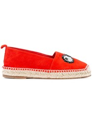 Anya Hindmarch Eye Embellished Espadrilles Women Calf Leather Calf Suede 36 Red