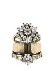 Iosselliani Stacked Ring W Crystals Gold