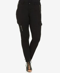 City Chic Plus Size Skinny Cargo Pants Black