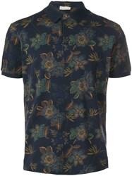 Etro Printed Polo Shirt Blue
