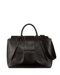 The Row Peggy Pleated Leather Tote Bag Black
