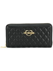 Love Moschino Logo Quilted Wallet Black