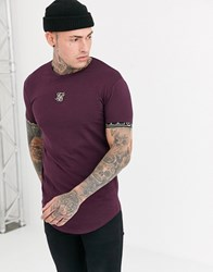 Sik Silk Siksilk Muscle T Shirt In Burgundy With Baroque Arm Detail Red