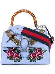 Gucci Sequin Embroidered Dionysus Shoulder Bag Women Bamboo Leather Pvc One Size Blue