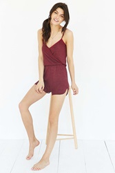 Out From Under Surplice Romper Maroon
