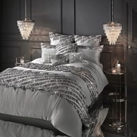 Kylie Minogue At Home Eliza Duvet Cover Pewter Gray