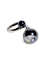 Antica Murrina Veneziana Optical Silver Stainless Steel Ring W Black Murano Glass Beads