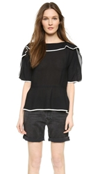See By Chloe Peplum Tee Shirt Black