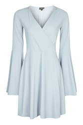 Topshop Tall Wrap Front Flute Sleeve Dress Grey Blue