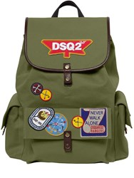 Dsquared Patches Cotton Canvas Backpack Military Green
