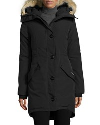 Canada Goose Rossclair Fur Trim Hooded Down Parka Black