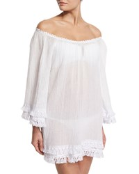 Miguelina Tammy Tassel Trim Off Shoulder Coverup Dress White Women's Pure White