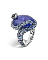 John Hardy Sterling Silver Legends Cobra Oval Tanzanite Ring With Tanzanite Blue Sapphire And Diamonds Blue Purple