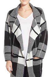 Women's Bobeau Check Notch Collar Sweater Jacket
