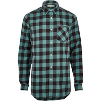 River Island Mensteal Checked Longline Shirt
