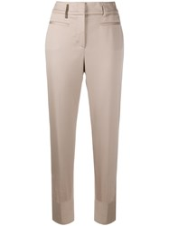 Peserico High Waisted Cropped Trousers Neutrals