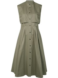 Tome Pleated Detailing Buttoned Dress Women Cotton 2 Green