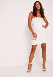 Missguided Bandeau A Line Skater Dress White White