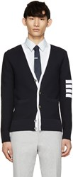 Thom Browne Navy And White Striped Armband Cardigan
