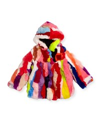 Adrienne Landau Multicolor Fur Coat Sizes 2T 12Y