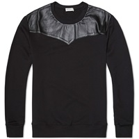 Saint Laurent Leather Panel Crew Sweat Black